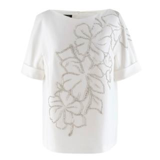 Escada Off-white Embellished Top