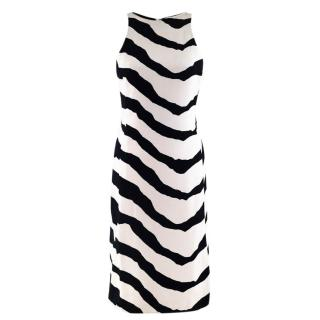 Armani Collezioni Abstract Striped Silk Dress