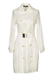 Elisabetta Franchi white belted lace coat