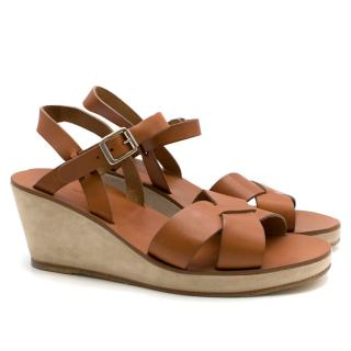 A.P.C. Brown Judith Wedge Sandals