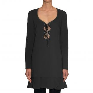 Emilio Pucci Ruffle-Hem Lace-Up Black Dress