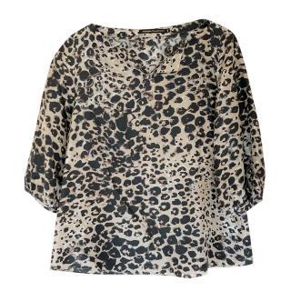 Natan  leopard-print silk blouse