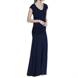 ME+EM Navy Ruched-Jersey Maxi Dress