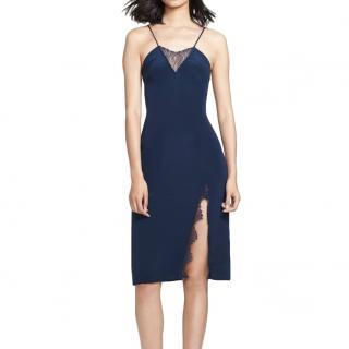 Tamara Mellon Blue Lace Detail Silk Slip Dress