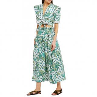Temperley Florrie Printed Cotton Wrap Skirt
