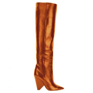 Saint Laurent Tan over the knee Niki boots