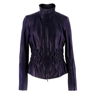 Escada Vintage Purple Leather Jacket