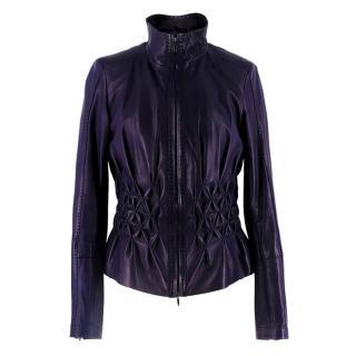 Escada Vintage Purple Leather Jacket