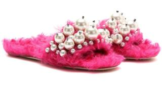Miu Miu pearl-embellished faux-fur slippers