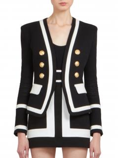 Balmain black and white military blazer