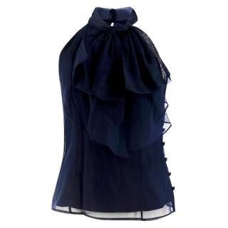 Milly Navy Gwyneth Bow Front Halter Top