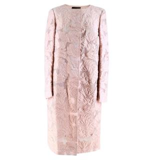Escada Light Pink Long Embroidered Coat