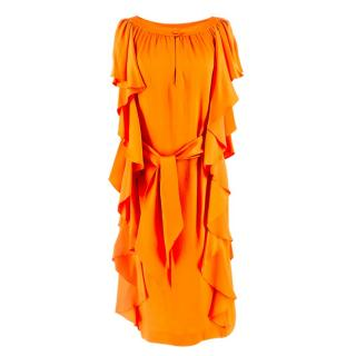 Escada Orange Belted Ruffle Silk Dress