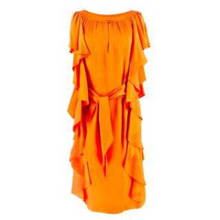 Escada Orange Belted Ruffle Silk Dress