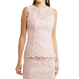 Dolce & Gabbana Pale-Pink Corded-Lace Top