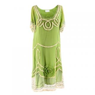 Jenny M London Embellished Green Silk-Chiffon Dress