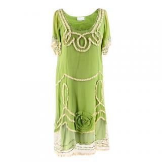 Jenny M London Embellished Green Silk-Chiffon Dress