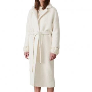 Ganni Off-White Boucle Long Wrap Coat
