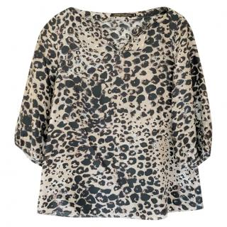 Natan Collection leopard-print silk blouse