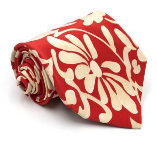 Hugo by Hugo Boss Red Floral Patterned Tie