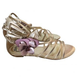 Dior flower-embellished gold leather sandals