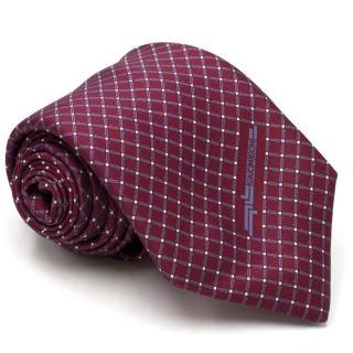 Vinuchi Burgundy Check Print Silk Tie