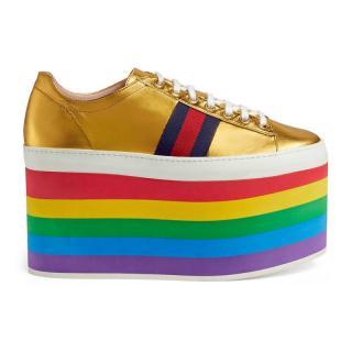 Gucci rainbow gold Platform trainers