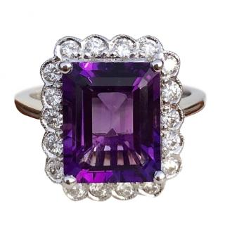 18ct White Gold Amethyst & Diamond Cocktail Ring