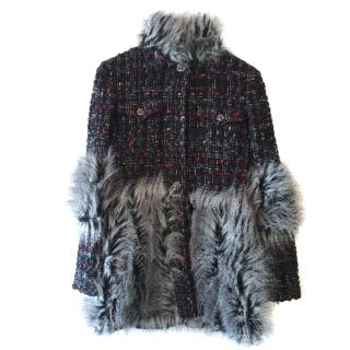 Chanel faux-fur panel tweed coat