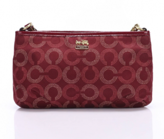 Coach Burgundy Monogram Clutch
