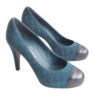 Chanel Aqua Suede Quilted Pumps