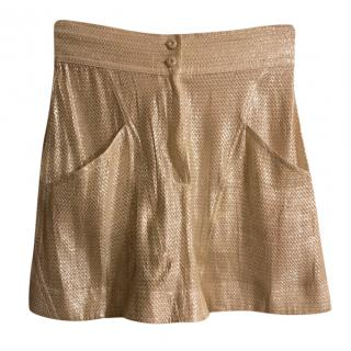 Fendi Metallic Silk Blend Shorts