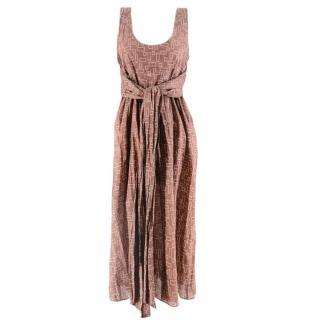 Marni Brown Printed Belted Dress