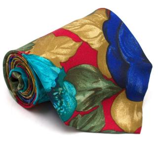Kenzo Multicolored Floral Silk Tie