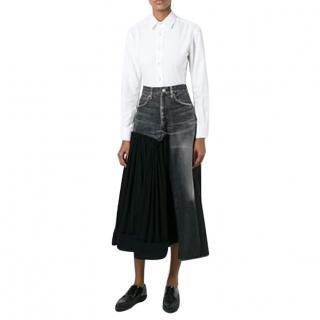 Yohji Yamamoto Grey Denim & Black Wool Asymmetric Skirt