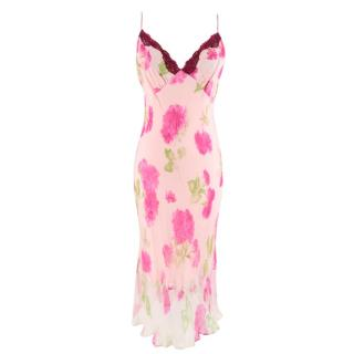 Collette Dinnigan Pink Floral Printed Silk Slip Dress