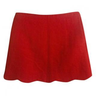 Red Valentino scallop-hem red mini skirt