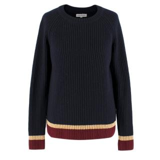 Chinti and Parker Navy Wool-blend Jumper
