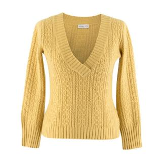 Megan Park Yellow Wool & Cashmere-blend Cable-knit Jumper