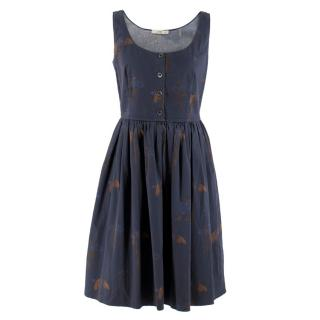 Prada Navy Floral Print Dress