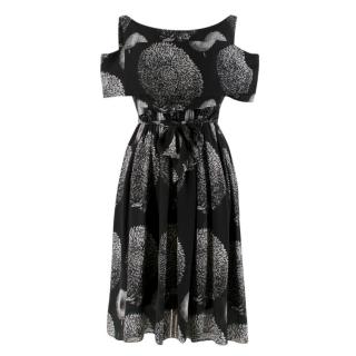 Erdem Black Cold-shoulder Printed Belted Dress