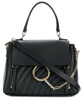 Chlo� Faye Day small quilted-leather midnight satchel