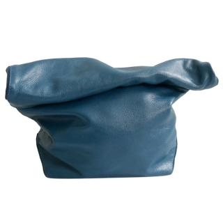 Jil Sander by Raf Simons Teal Blue Roll Top 'Paperbag' Clutch Bag