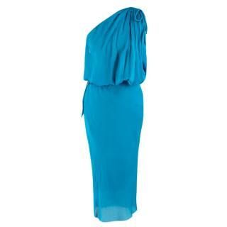 Lanvin Turquoise One-Shoulder Silk Dress