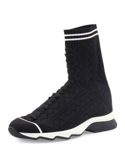 Fendi Black pointelle-knit sock trainers