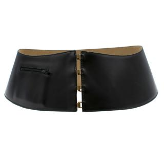 Alaia Black Wide Leather Waist Belt