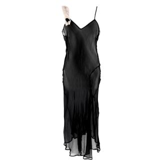 Dries Van Noten Black Sheer Silk Slip Dress