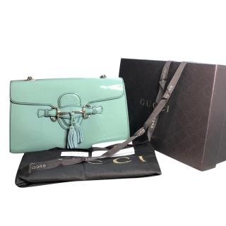 Gucci Emily mint patent leather shoulder bag