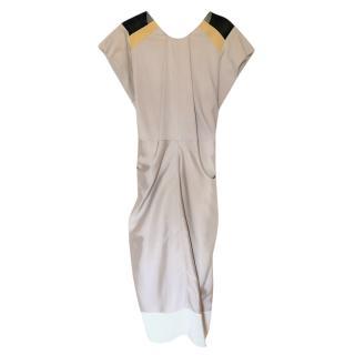 Vionnet cap-sleeved beige silk dress