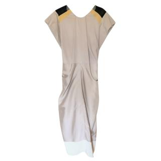 Vionnet cap-sleeved beige silk dress
